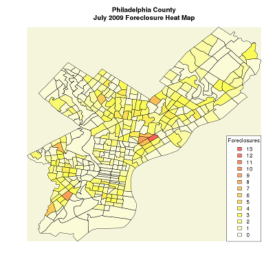 [Philadelphia County July 2009 Foreclosure Heat Map]